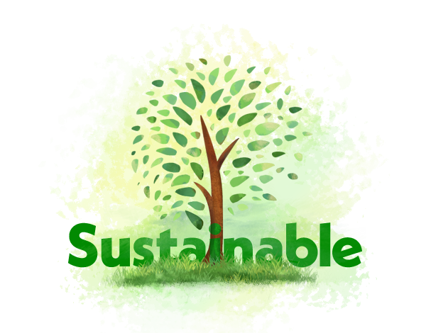 painterly illustration of a tree with the word SUSTAINABLE, that combines simple shapes with complex textures. Links to UC Davis report on being the most sustainable campus in 2019